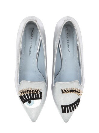 eyes loafers leather silver shoes