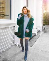 coat,tumblr,fur coat,teddy bear coat,green coat,dress,mini dress,grey dress,sweater dress,boots,grey boots,over the knee boots,over the knee