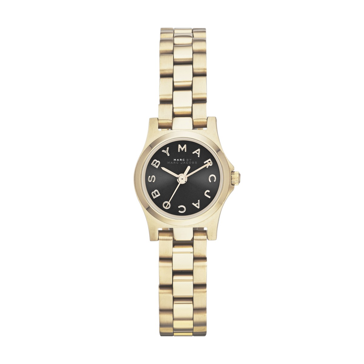 Marc by marc jacobs henry yellow gold tone black dial bracelet watch