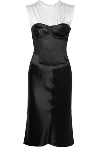 dress layered black silk satin