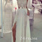 Custom made white a-line chiffon lace long prom dresses, evening dresses - 24prom