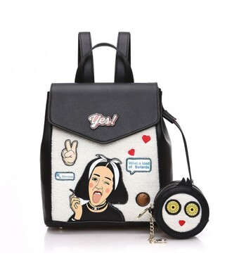 bag trendy cool back to school backpack teenagers sassy badges leather backpack