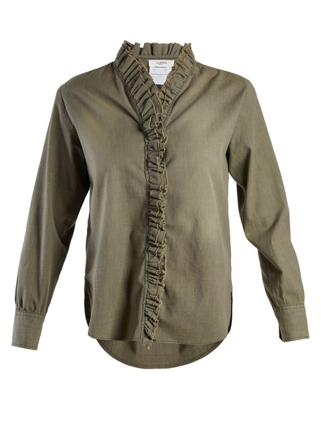 Isabel Marant etoile shirt ruffle cotton khaki top
