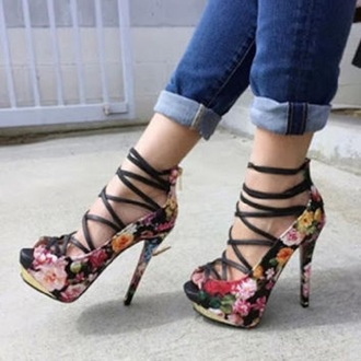 shoes fsjshoes floral fashion style classy strappy heels strappy flowers denim casual autumn/winter fall outfits spring girly high heels stilettos sexy instagram summer outfits spring outfits summer shoes floral dress