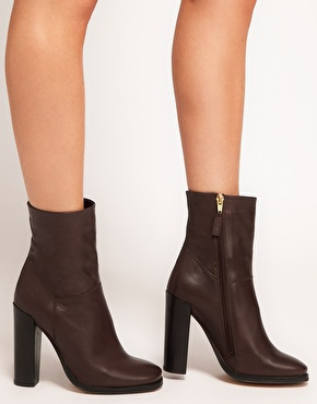 ASOS | ASOS ACHIEVE Leather Heeled Ankle Boots at ASOS