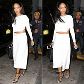 wide-leg pants,rihanna,culottes,cropped sweater,white,two-piece,shoes,pants,top