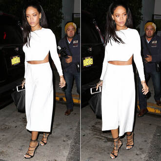 wide-leg pants rihanna culottes cropped sweater white two-piece shoes pants top