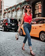 top,tumblr,red top,crop tops,sleeveless,denim,jeans,black dress,blue jeans,sandals,sandal heels,high heel sandals,bag,shoes