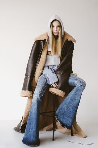 coat tumblr brown coat long coat leather sweatshirt hoodie grey hoodie flare jeans denim jeans blue jeans editorial