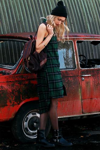 eva v eveoaks blogger tartan dress pom pom beanie leather backpack