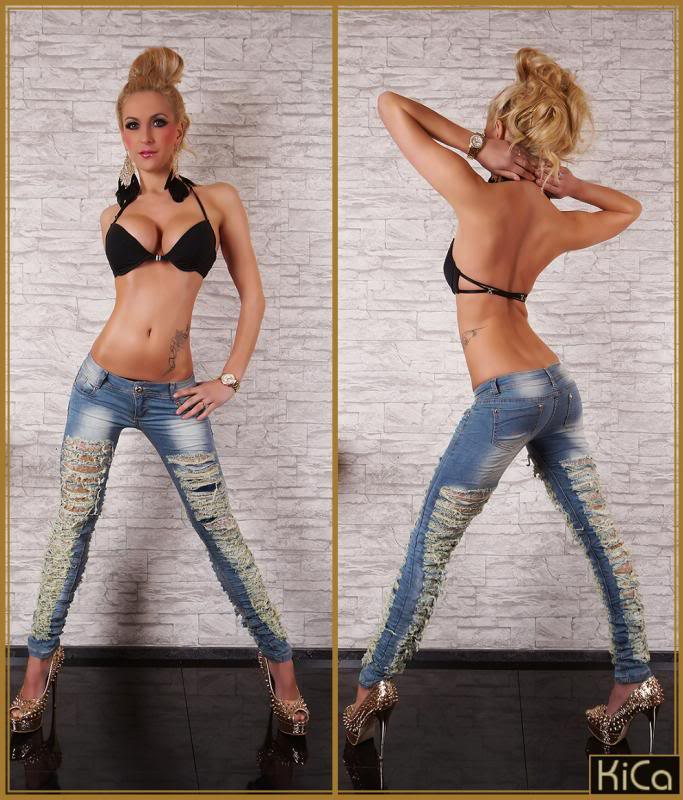 Skinny Jeans Destroyed Ripped Distressed Washed Blue Lace Lining ...