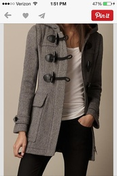jacket,grey warm jacket,coat,grey,duffle coat,grey coat