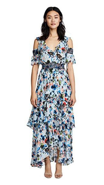 TANYA TAYLOR dress floral watercolor soft blue