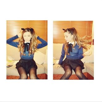 top outfit blue jumper skirt cat ears ariana grande school uniform preppy