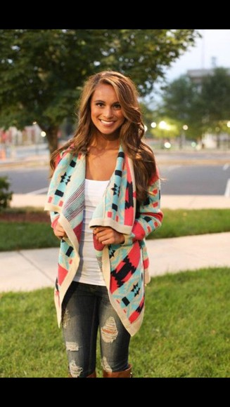 white top casual jeans cardigan fall outfits colored cardigan knee high boots