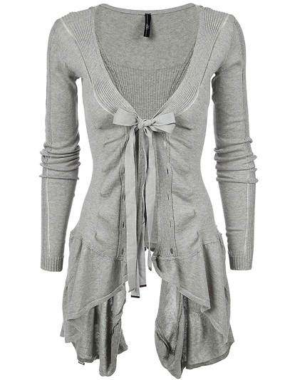 Women  -  All - High 'Chapter' Ribbed Asymmetric Hem Cotton Cardigan - Bernard Boutique