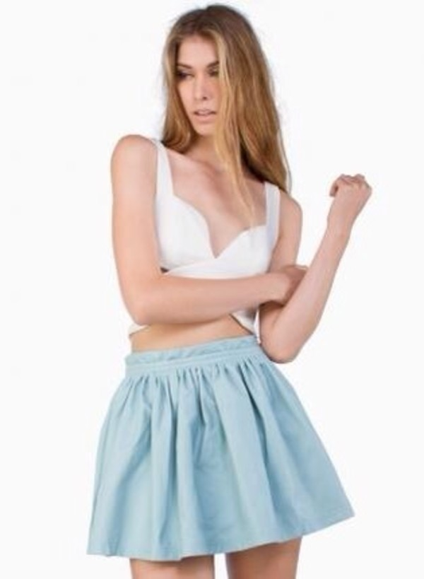 skirt blue skirt crop tops