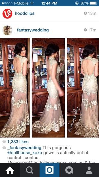 dress gold dress sparkly dress see through dress long prom dress lace prom dress gold sequins dress sleeveless dress