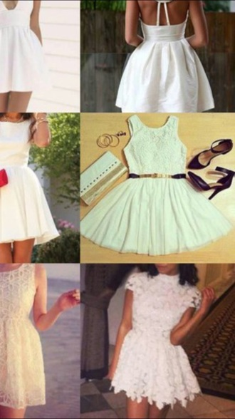 dress white dress floral dress lace dress short skirt short sleeve pretty dress