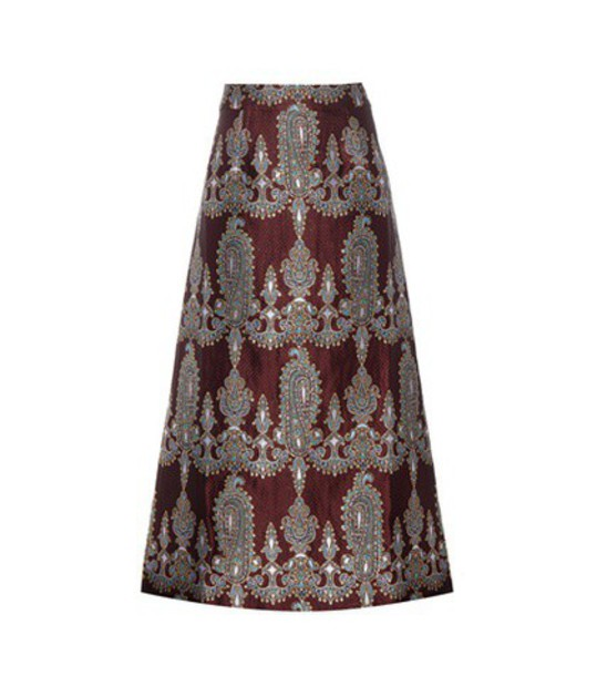 Alessandra Rich Printed Silk-blend Skirt in gold