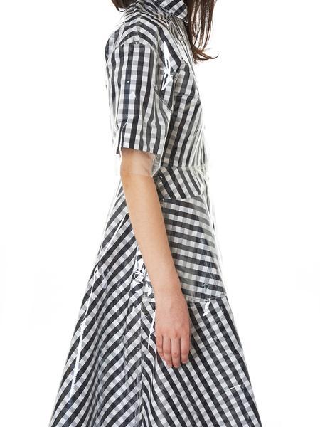 Vinyl Overlay Dress (1956-BLACK-WHITE)