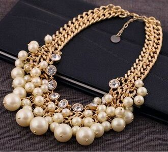 jewels gold necklace pearl rhinestones