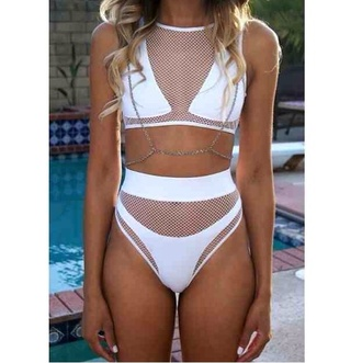 swimwear white jewels net