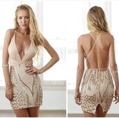 dress,summer dress,bodycon dress,sexy dress,short dress,party dress,simple fahsion,clothes,tumblr clothes,outfit,tumblr outfit,summer outfits,date outfit,tumblr,tumblr girl,girl,girly,girly wishlist,cute,sexy,style scrapbook,style,sequins,gold,nude dress