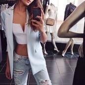 crop tops,blazer,light blue,ripped jeans,white top,bandeau,top,white t-shirt,white crop tops,cute dress,jeans,jacket,light blue jeans