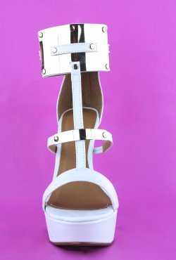 All White and Gold Statement Heels on Wanelo
