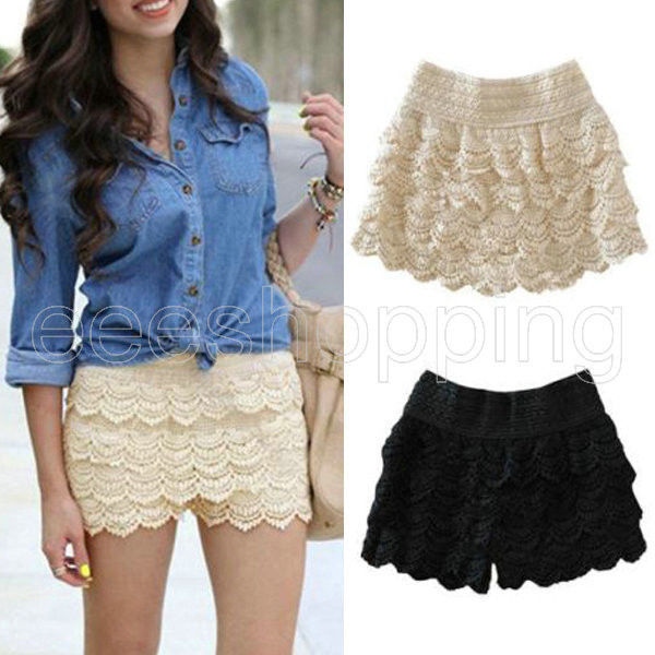 Fashion Womens Korean Sweet Crochet Tiered Lace Shorts Skorts Short Pants s M L | eBay