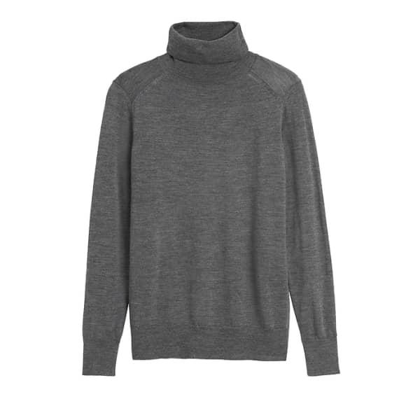 Banana Republic Women's Petite Washable Merino Turtleneck Sweater Charcoal Gray Petite Size XXS
