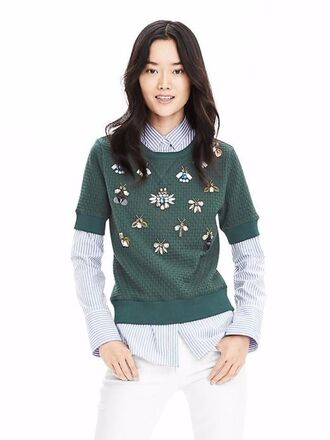 top embellished embellished top embroidered insects banana republic pullover
