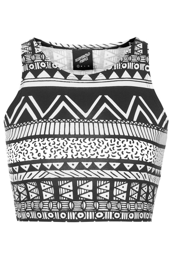 tank top tribal print tight crop top by illustrated people illustrated people crop tops print tight tribal pattern