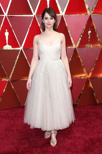 dress felicity jones midi dress gown prom dress tulle dress red carpet dress oscars 2017 sandals wedding dress oscars