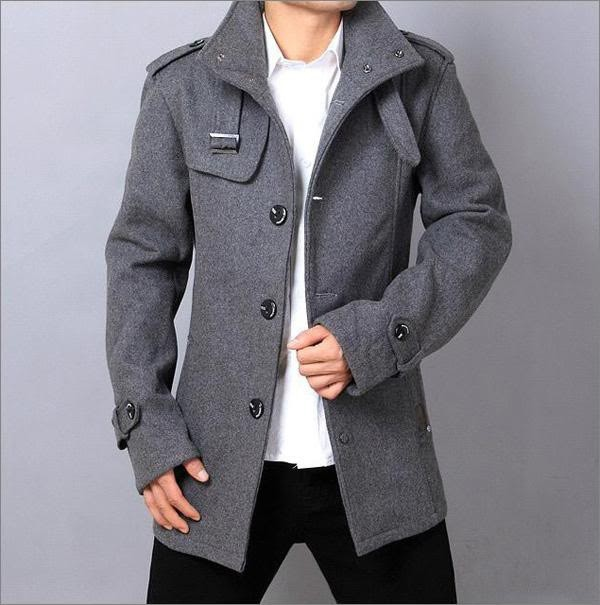 Mens Light Grey Pea Coat - JacketIn