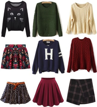 colorful cat sweater cats skirt high waisted skirt