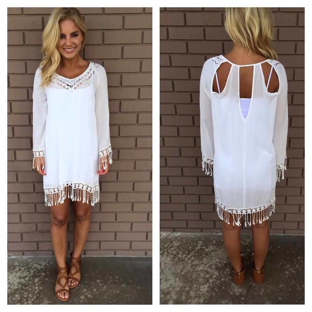 White Fringe Cut Out Back Cover Up Dress