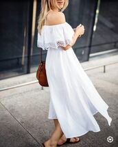dress,tumblr,midi dress,white dress,off the shoulder,off the shoulder dress,bag,shoes