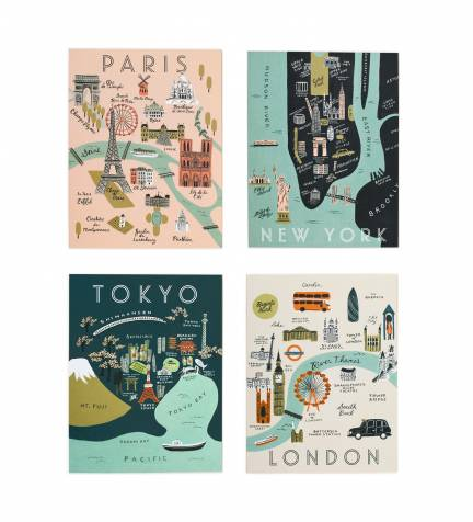 City Maps Assorted Card Set by RIFLE PAPER Co. | Made in USA