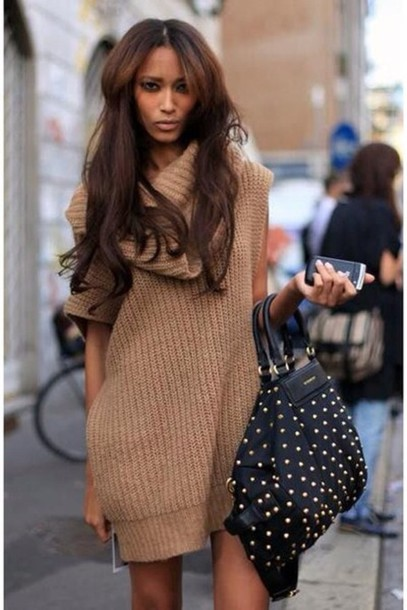 dress knitted dress brown dress pretty