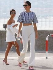 blouse,top,crop tops,pants,sandals,kendall jenner,model off-duty,cannes,kourtney kardashian,white,white dress,sandal heels,kardashians,stripes,striped top,spring outfits,summer dress,summer outfits,shoes