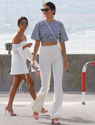 blouse top crop tops pants sandals kendall jenner model off-duty cannes kourtney kardashian white white dress sandal heels kardashians stripes striped top spring outfits summer dress summer outfits shoes