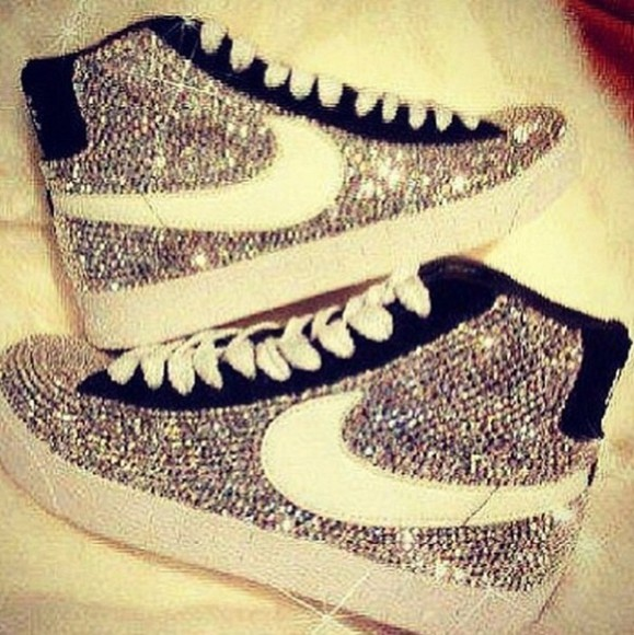 shoes nike sneakers sneakers high rhinestones