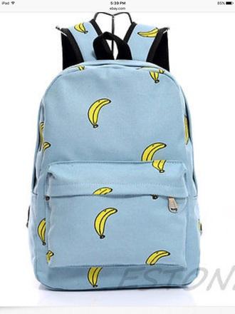 bag banana backpack blue