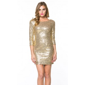 Shimmering bodycon dress with sleeves in gold