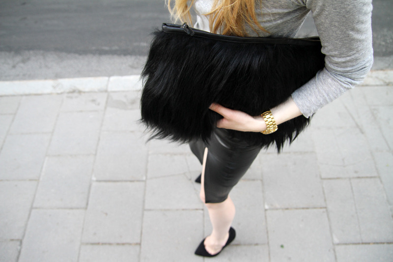 Limited Edition - Black Goat Hair   Leather Clutch Fur Furry Hand Bag
