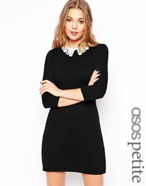 ASOS Petite | ASOS PETITE Skater Dress with Lace Collar at ASOS