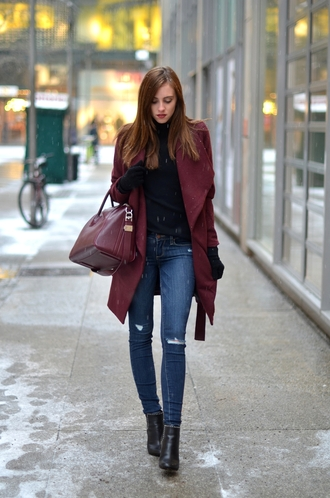 winter outfits burgundy coat leather purse