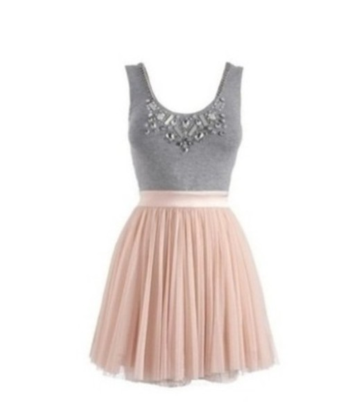 studded dress pink dress skirt grey vest